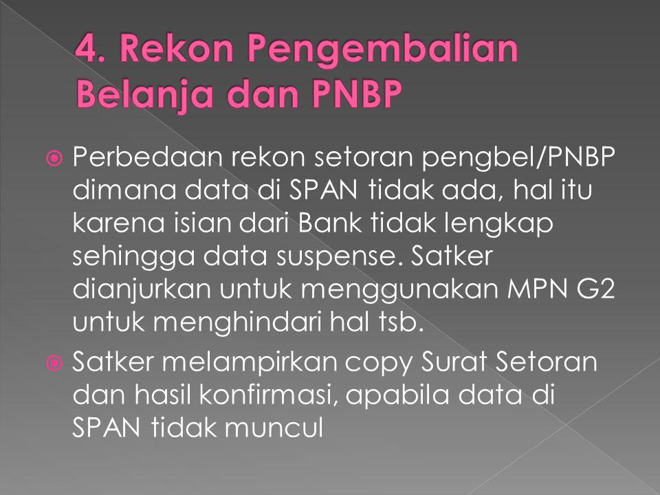  Perbedaan rekon setoran pengbel/PNBP dimana data di SPAN tidak ada, hal itu karena isian dari Bank tidak lengkap sehingga data suspense. Satker dian