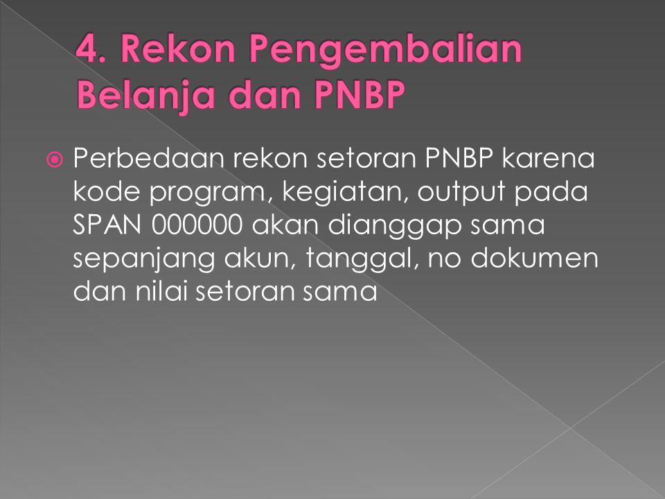  Perbedaan rekon setoran PNBP karena kode program, kegiatan, output pada SPAN 000000 akan dianggap sama sepanjang akun, tanggal, no dokumen dan nilai
