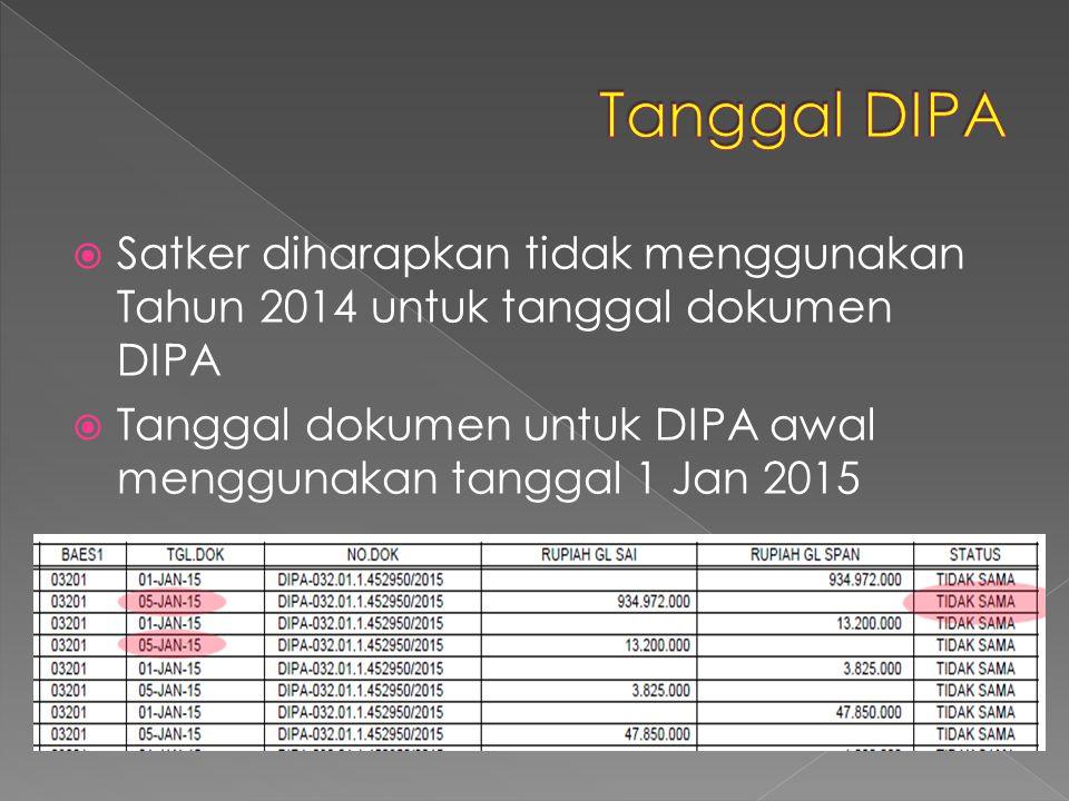  Satker diharapkan tidak menggunakan Tahun 2014 untuk tanggal dokumen DIPA  Tanggal dokumen untuk DIPA awal menggunakan tanggal 1 Jan 2015