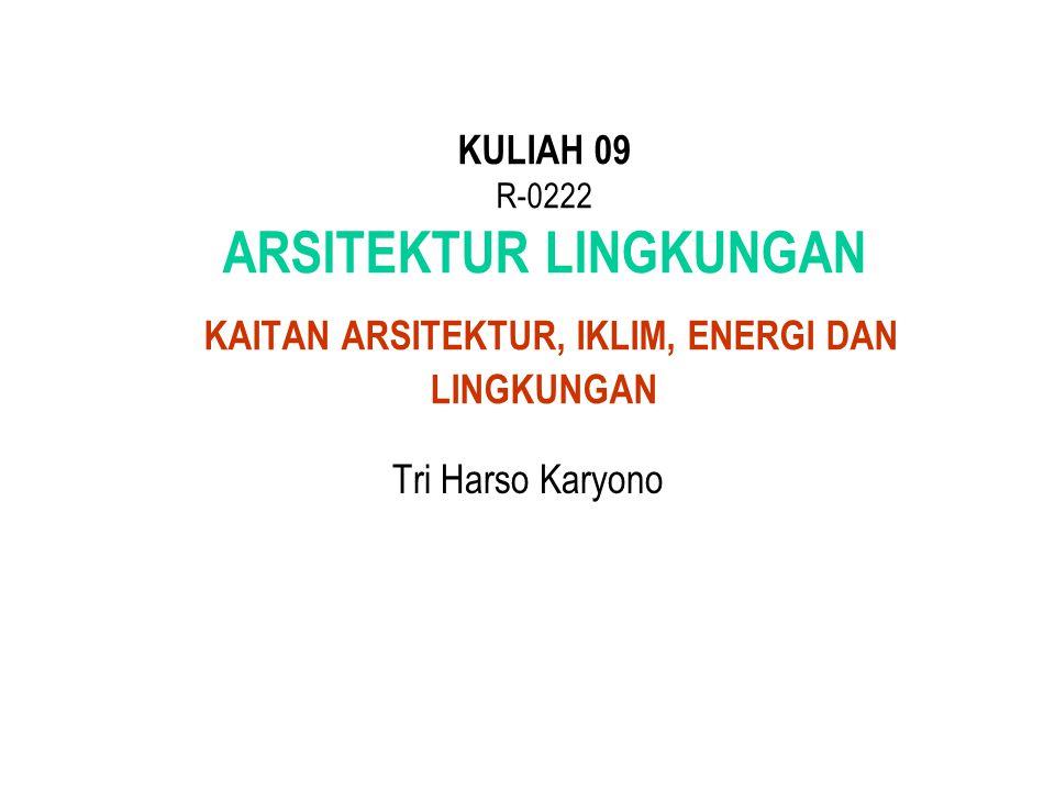 Tri Harso Karyono KULIAH 09 R-0222 ARSITEKTUR LINGKUNGAN KAITAN ARSITEKTUR, IKLIM, ENERGI DAN LINGKUNGAN