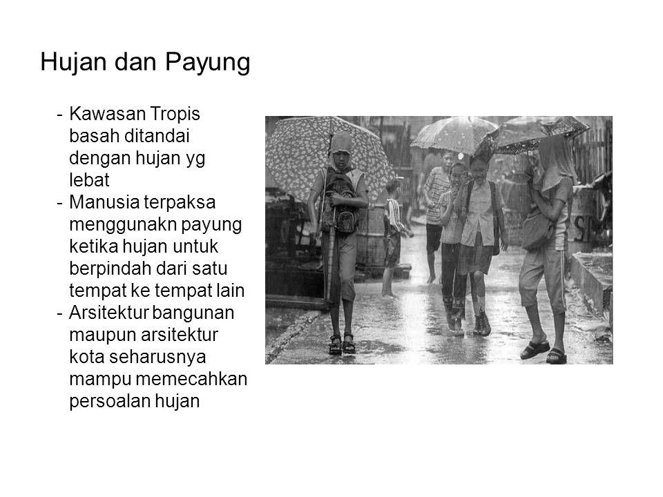 Hujan dan Payung -Kawasan Tropis basah ditandai dengan hujan yg lebat -Manusia terpaksa menggunakn payung ketika hujan untuk berpindah dari satu tempa