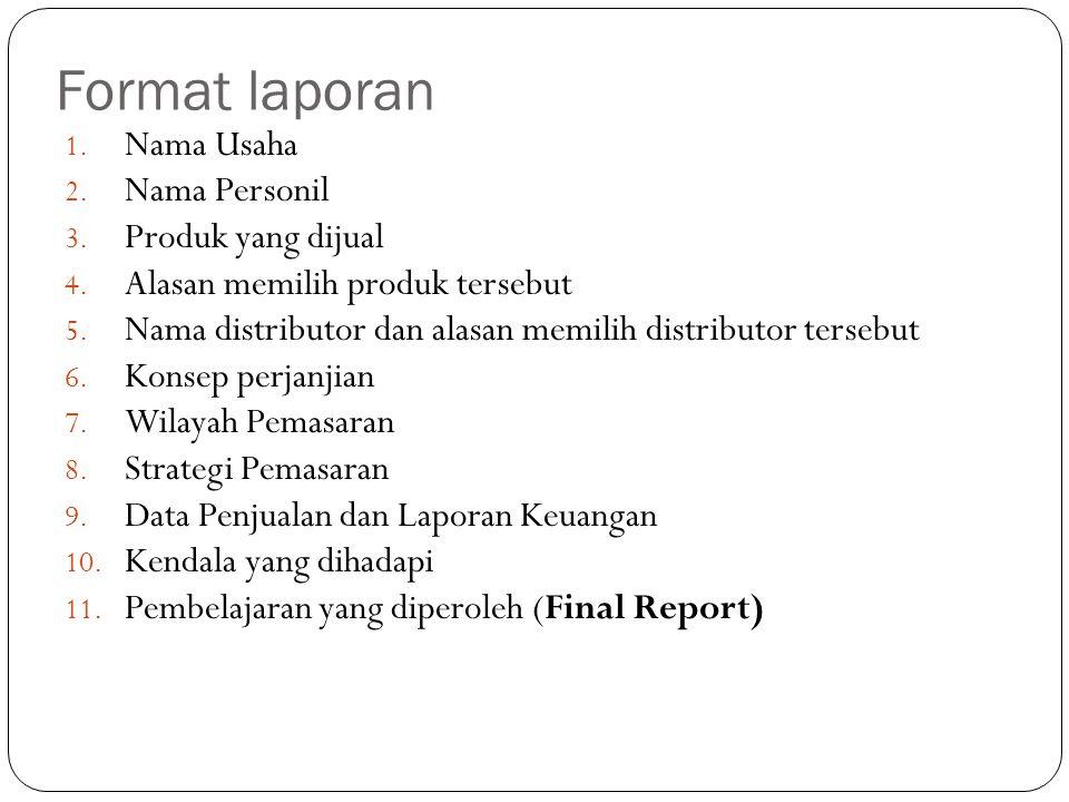 Format laporan 1. Nama Usaha 2. Nama Personil 3.
