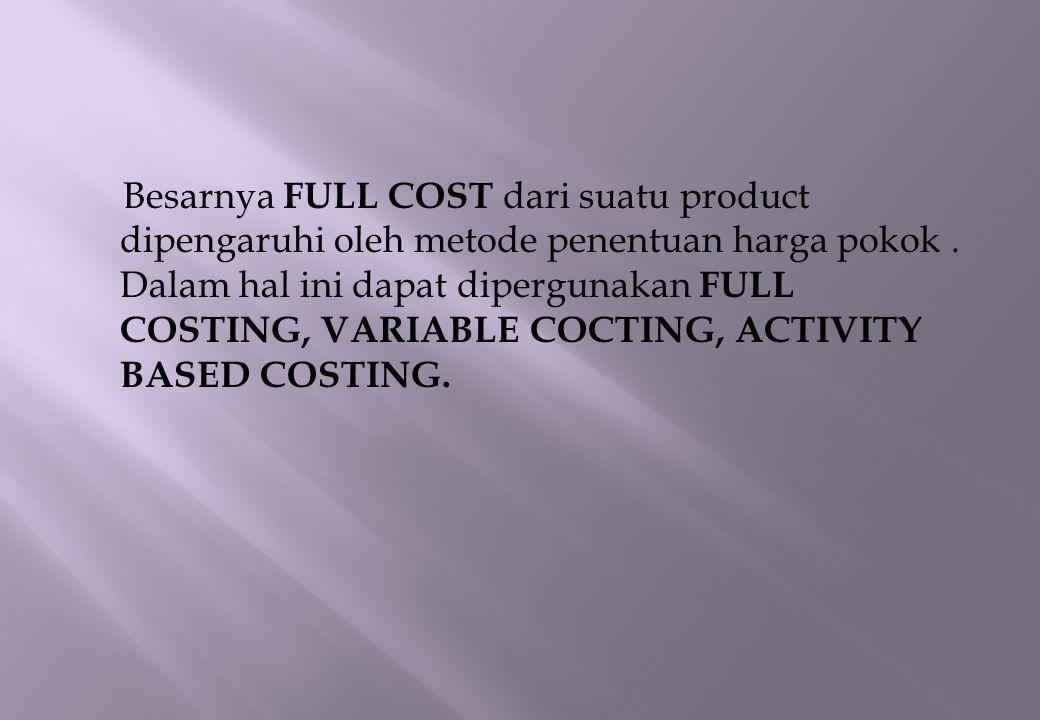 - Full Costing Metode penentuan HARGA Pokok Produk yang membebankan seluruh biaya kepada HARGA POKOK PRODUK - VARIABLE COSTING METODE penentuan harga pokok produk yang membebankan biaya variable kepada Harga Pokok Produk - Aktivity Based Costing Metode penentuan harga pokok produk yang mengukur seluruh sumber daya yang digunakan oleh setiap aktivitas yg dilaksanakan utk menghasilkan produk