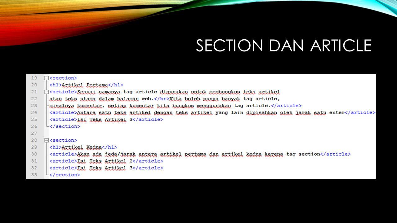 SECTION DAN ARTICLE