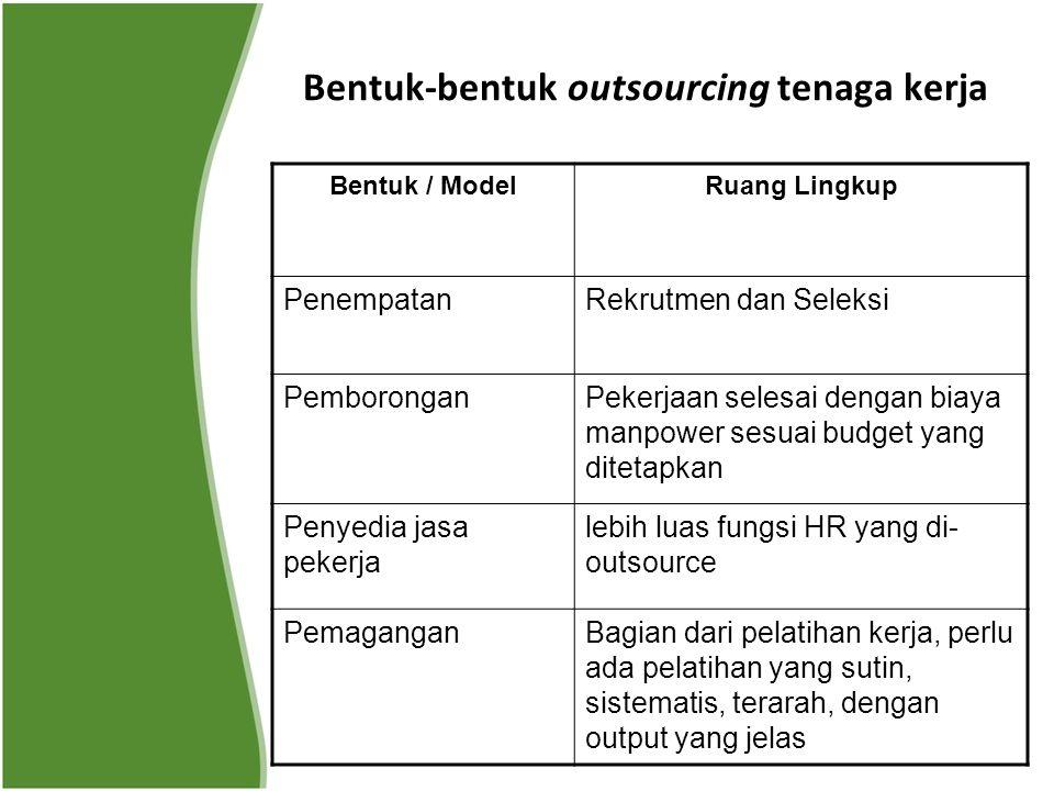 Bentuk-bentuk outsourcing tenaga kerja Bentuk / ModelRuang Lingkup PenempatanRekrutmen dan Seleksi PemboronganPekerjaan selesai dengan biaya manpower