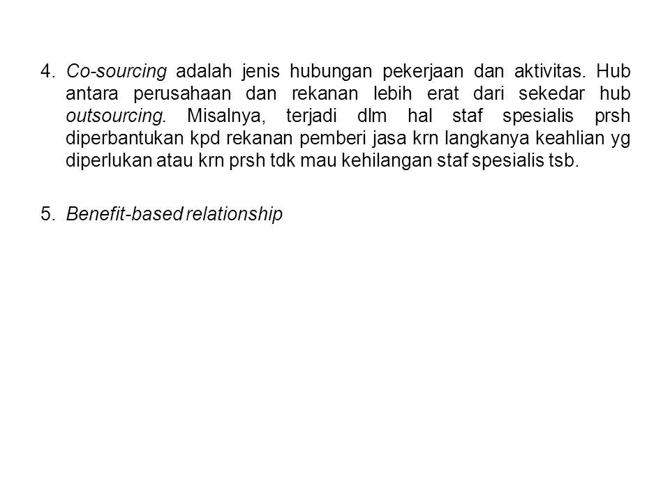 4. Co-sourcing adalah jenis hubungan pekerjaan dan aktivitas.