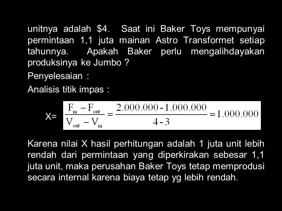 unitnya adalah $4. Saat ini Baker Toys mempunyai permintaan 1,1 juta mainan Astro Transformet setiap tahunnya. Apakah Baker perlu mengalihdayakan prod