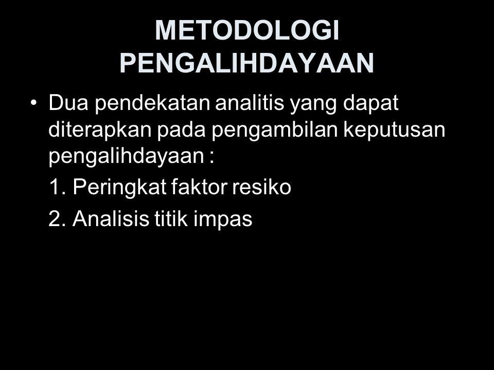 METODOLOGI PENGALIHDAYAAN Dua pendekatan analitis yang dapat diterapkan pada pengambilan keputusan pengalihdayaan : 1. Peringkat faktor resiko 2. Anal