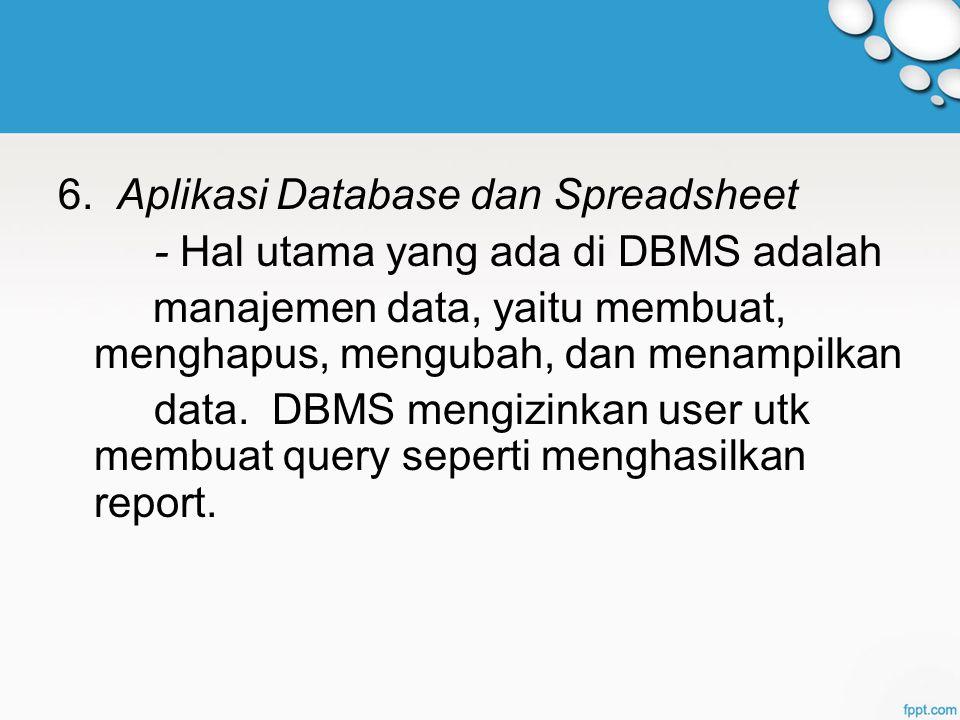 6. Aplikasi Database dan Spreadsheet - Hal utama yang ada di DBMS adalah manajemen data, yaitu membuat, menghapus, mengubah, dan menampilkan data. DBM