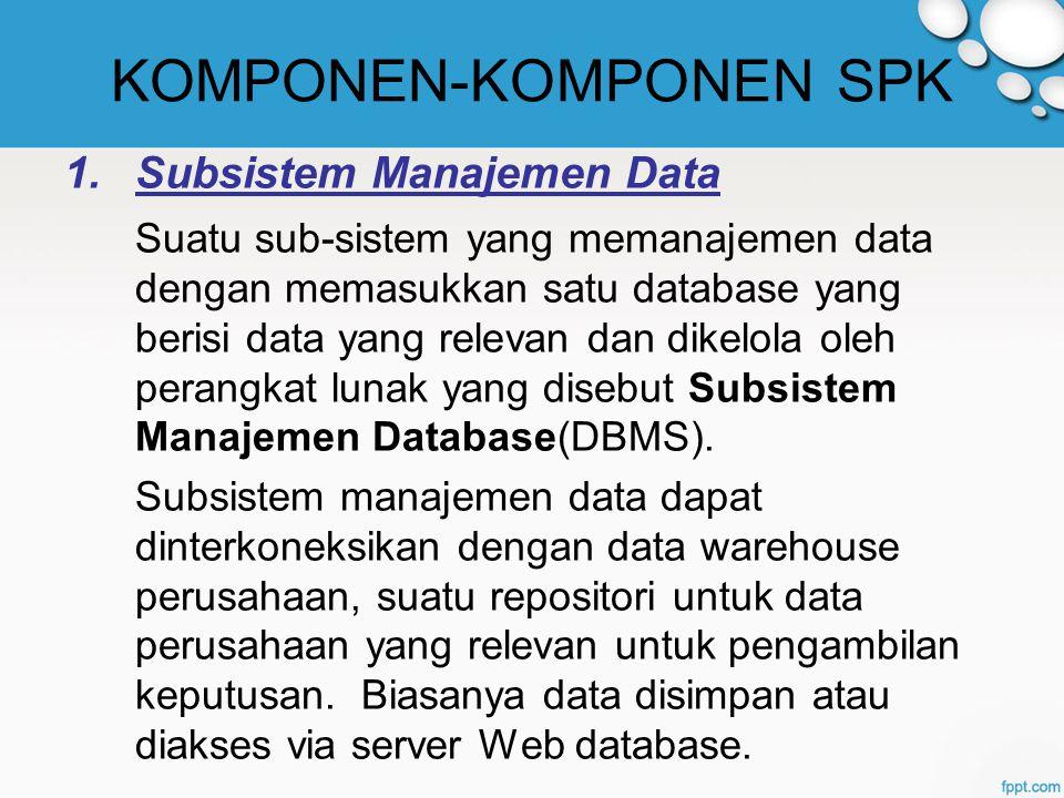 KOMPONEN-KOMPONEN SPK 1.Subsistem Manajemen Data Suatu sub-sistem yang memanajemen data dengan memasukkan satu database yang berisi data yang relevan dan dikelola oleh perangkat lunak yang disebut Subsistem Manajemen Database(DBMS).
