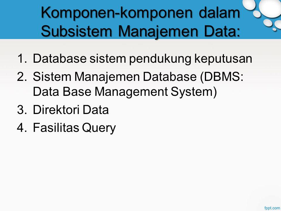 Komponen-komponen dalam Subsistem Manajemen Data: 1.Database sistem pendukung keputusan 2.Sistem Manajemen Database (DBMS: Data Base Management System) 3.Direktori Data 4.Fasilitas Query