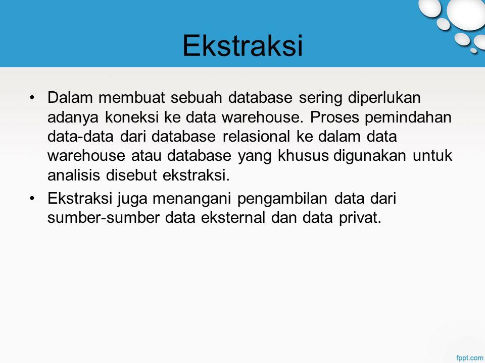 Ekstraksi Dalam membuat sebuah database sering diperlukan adanya koneksi ke data warehouse.