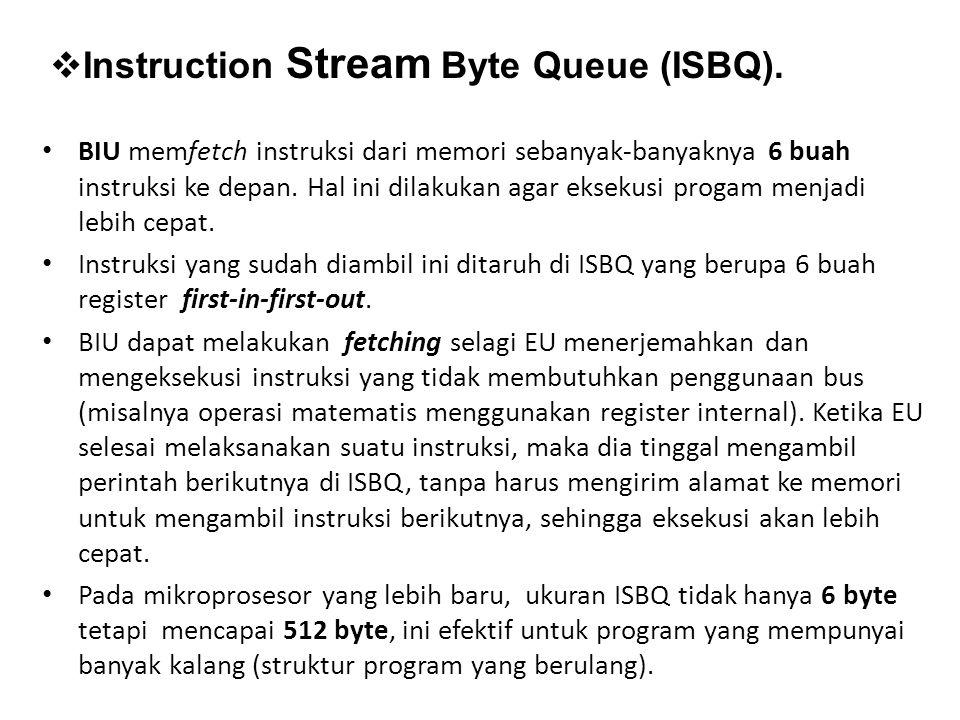 BIU memfetch instruksi dari memori sebanyak-banyaknya 6 buah instruksi ke depan. Hal ini dilakukan agar eksekusi progam menjadi lebih cepat. Instruksi