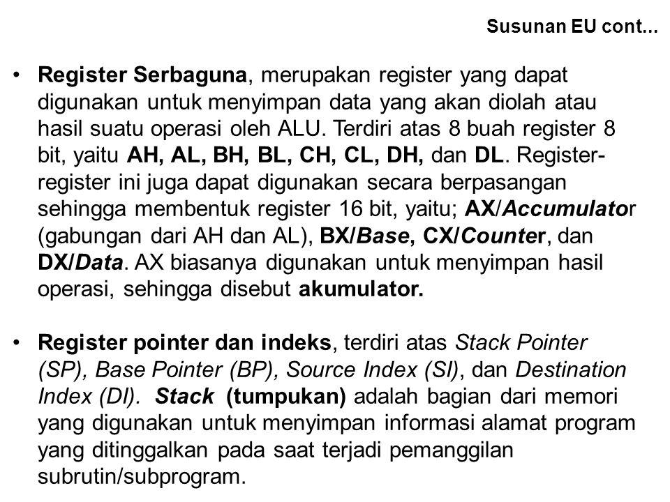 Register Serbaguna, merupakan register yang dapat digunakan untuk menyimpan data yang akan diolah atau hasil suatu operasi oleh ALU. Terdiri atas 8 bu