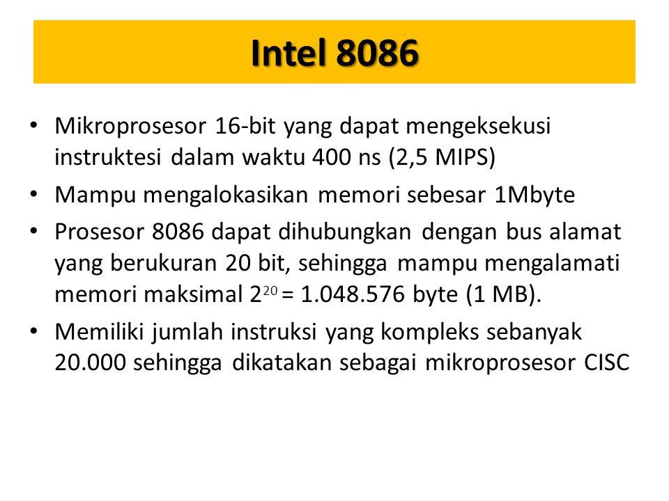 Intel 8086 Mikroprosesor 16-bit yang dapat mengeksekusi instruktesi dalam waktu 400 ns (2,5 MIPS) Mampu mengalokasikan memori sebesar 1Mbyte Prosesor