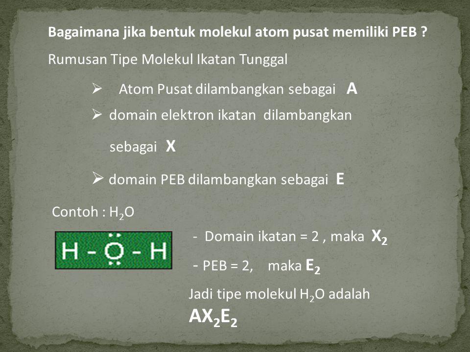 Bagaimana jika bentuk molekul atom pusat memiliki PEB ? Rumusan Tipe Molekul Ikatan Tunggal  Atom Pusat dilambangkan sebagai A  domain elektron ikat