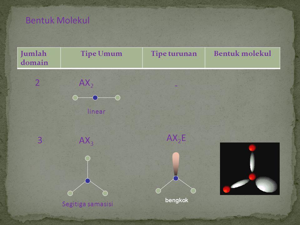 Bentuk Molekul Jumlah domain Tipe UmumTipe turunanBentuk molekul 2AX 2 3 linear Segitiga samasisi AX 3 - AX 2 E bengkok