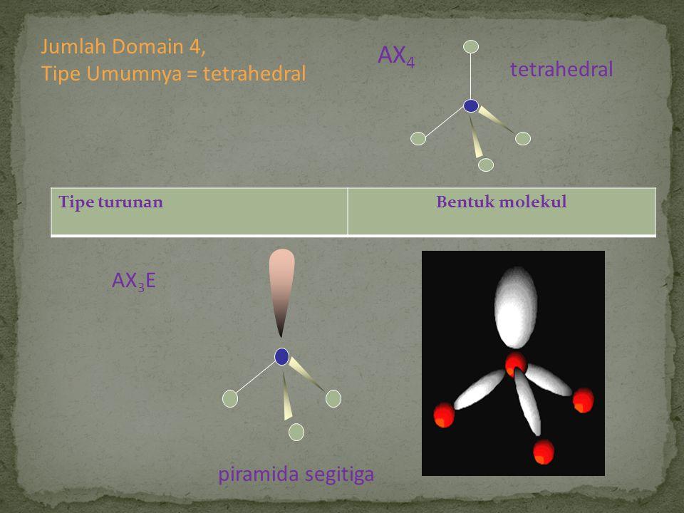 piramida segitiga AX 3 E Tipe turunanBentuk molekul tetrahedral AX 4 Jumlah Domain 4, Tipe Umumnya = tetrahedral