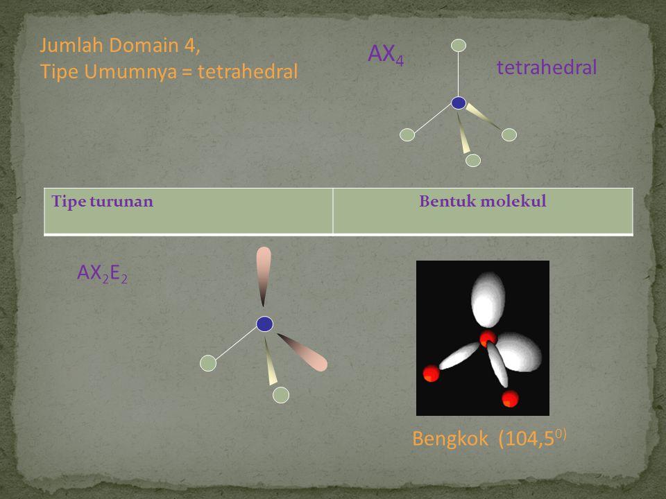 Tipe turunanBentuk molekul AX 2 E 2 Bengkok (104,5 0) Jumlah Domain 4, Tipe Umumnya = tetrahedral tetrahedral AX 4