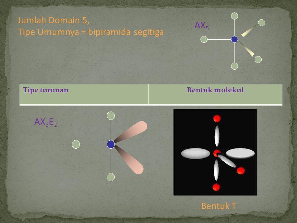 Tipe turunanBentuk molekul AX 3 E 2 Bentuk T Jumlah Domain 5, Tipe Umumnya = bipiramida segitiga AX 5
