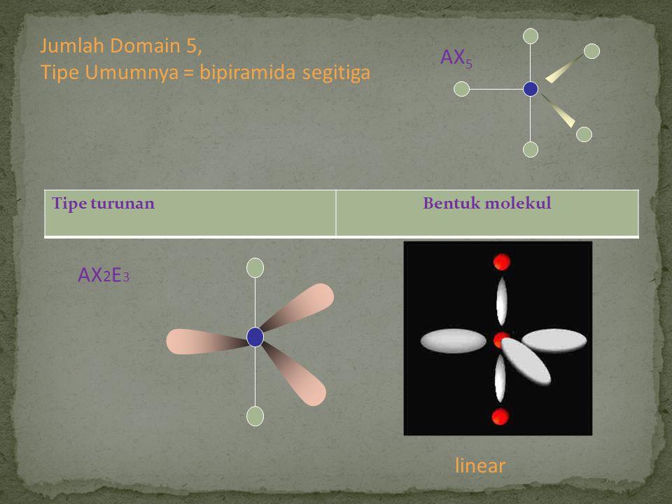 Tipe turunanBentuk molekul AX 2 E 3 linear Jumlah Domain 5, Tipe Umumnya = bipiramida segitiga AX 5