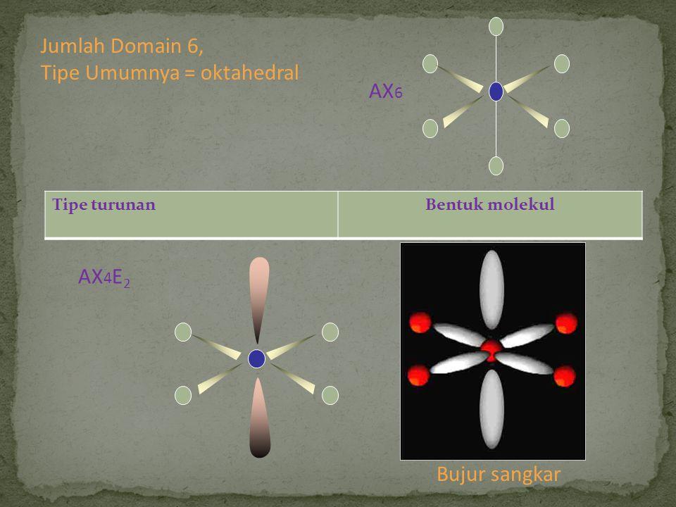 Tipe turunanBentuk molekul AX 4 E 2 Bujur sangkar Jumlah Domain 6, Tipe Umumnya = oktahedral AX 6
