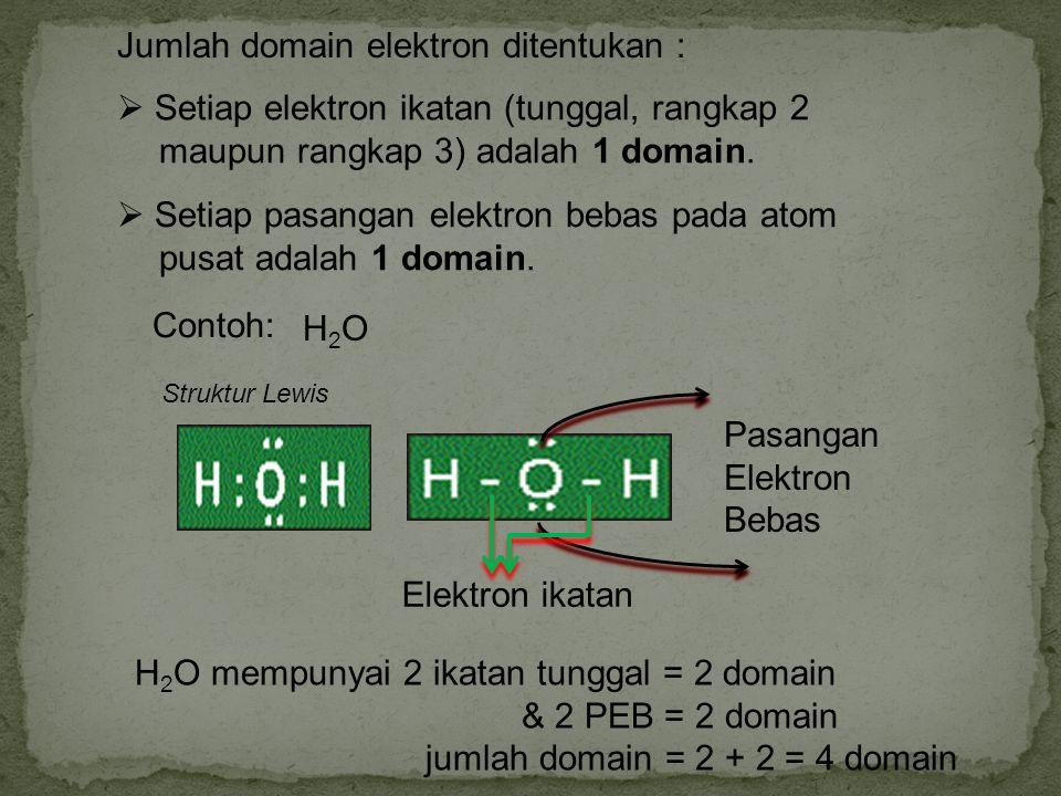 SO 2 Struktur Lewis PEB Elektron ikatan SO 2 mempunyai 1 ikatan tunggal = 1 domain 1 ikatan rangkap = 1 domain & 1 PEB = 1 domain jumlah domain = 1 + 1 + 1 = 3 domain Latihan Soal.