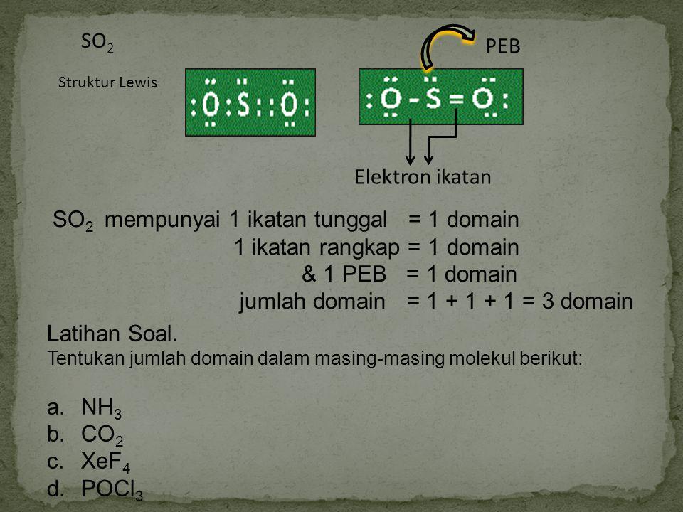 SO 2 Struktur Lewis PEB Elektron ikatan SO 2 mempunyai 1 ikatan tunggal = 1 domain 1 ikatan rangkap = 1 domain & 1 PEB = 1 domain jumlah domain = 1 +