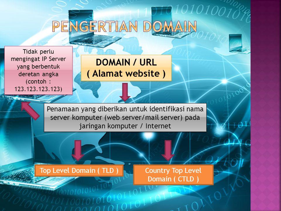 DOMAIN / URL ( Alamat website ) Penamaan yang diberikan untuk identifikasi nama server komputer (web server/mail server) pada jaringan komputer / Internet Top Level Domain ( TLD )Country Top Level Domain ( CTLD ) Tidak perlu mengingat IP Server yang berbentuk deretan angka (contoh : 123.123.123.123)