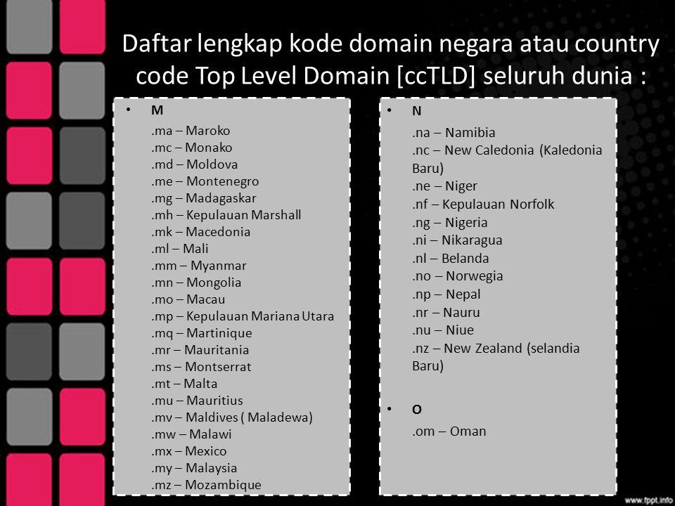 Daftar lengkap kode domain negara atau country code Top Level Domain [ccTLD] seluruh dunia : M.ma – Maroko.mc – Monako.md – Moldova.me – Montenegro.mg