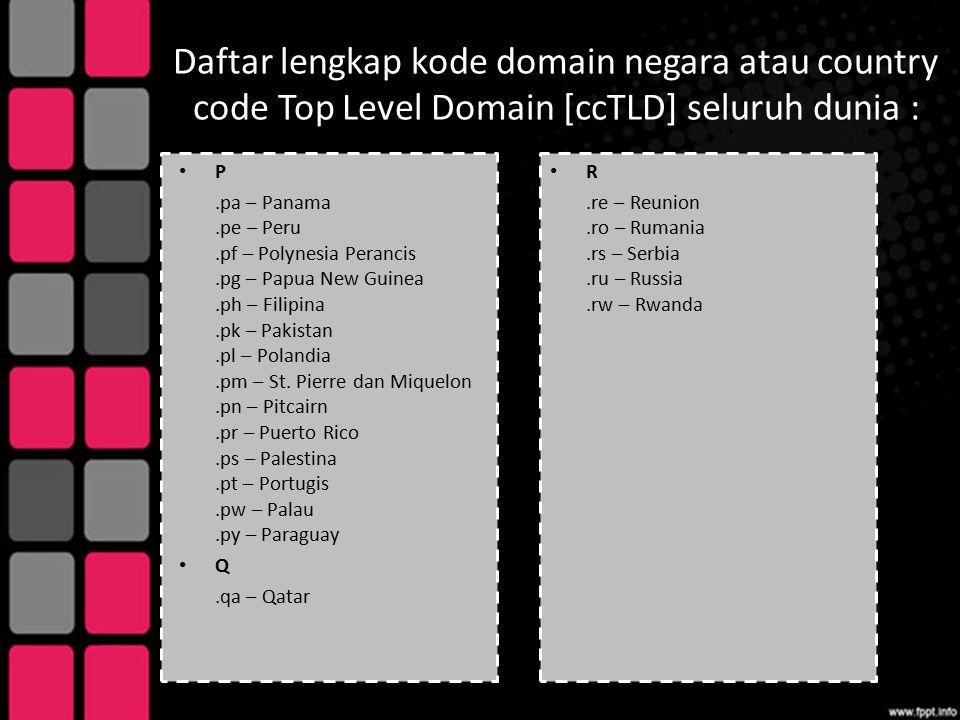 Daftar lengkap kode domain negara atau country code Top Level Domain [ccTLD] seluruh dunia : P.pa – Panama.pe – Peru.pf – Polynesia Perancis.pg – Papu