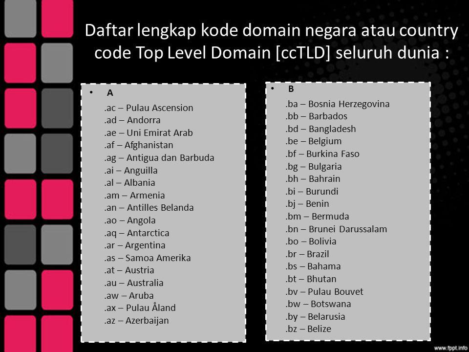 Daftar lengkap kode domain negara atau country code Top Level Domain [ccTLD] seluruh dunia : A.ac – Pulau Ascension.ad – Andorra.ae – Uni Emirat Arab.