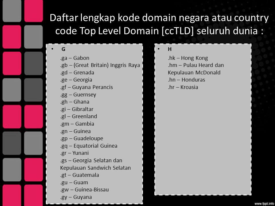 Daftar lengkap kode domain negara atau country code Top Level Domain [ccTLD] seluruh dunia : G.ga – Gabon.gb – (Great Britain) Inggris Raya.gd – Grena