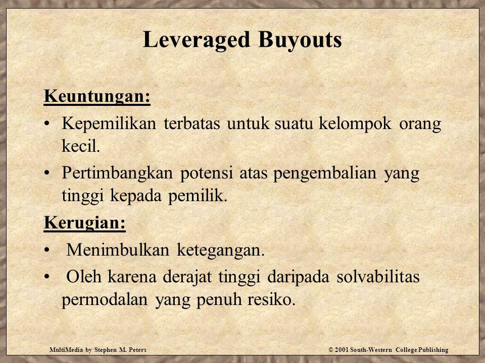 MultiMedia by Stephen M. Peters© 2001 South-Western College Publishing Leveraged Buyouts Keuntungan: Kepemilikan terbatas untuk suatu kelompok orang k