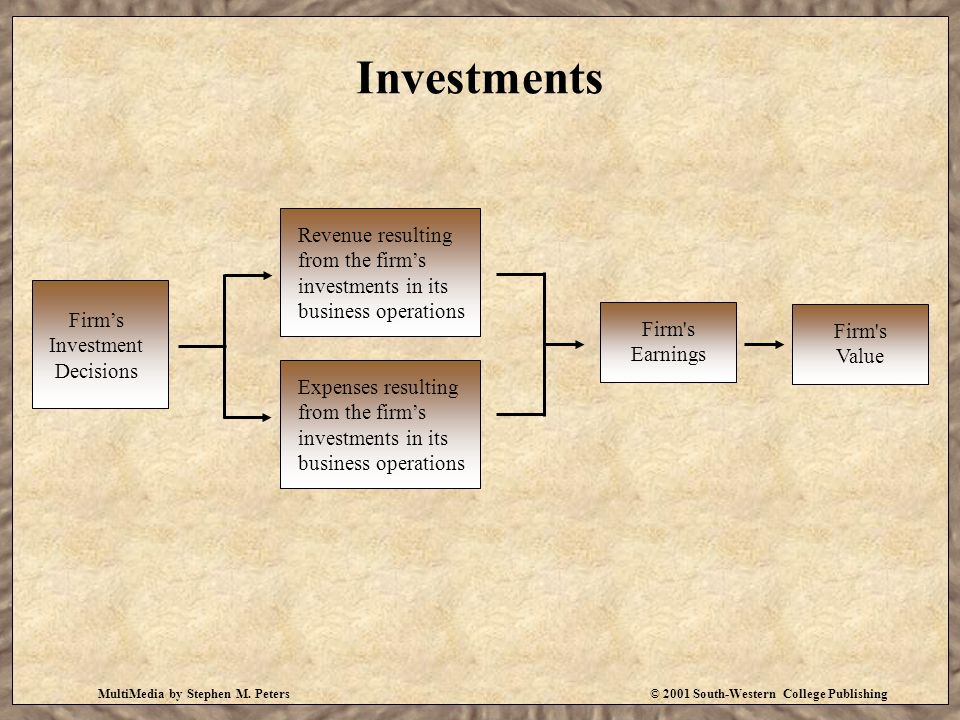 MultiMedia by Stephen M. Peters© 2001 South-Western College Publishing Investments Firm's Investment Decisions Revenue resulting from the firm's inves