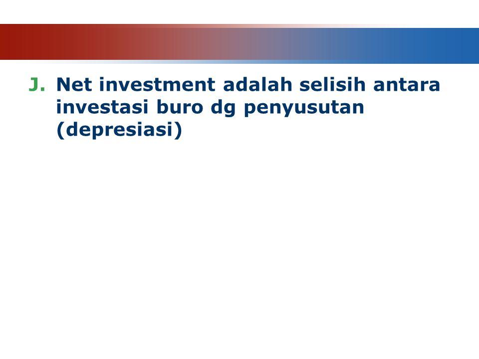 J.Net investment adalah selisih antara investasi buro dg penyusutan (depresiasi)