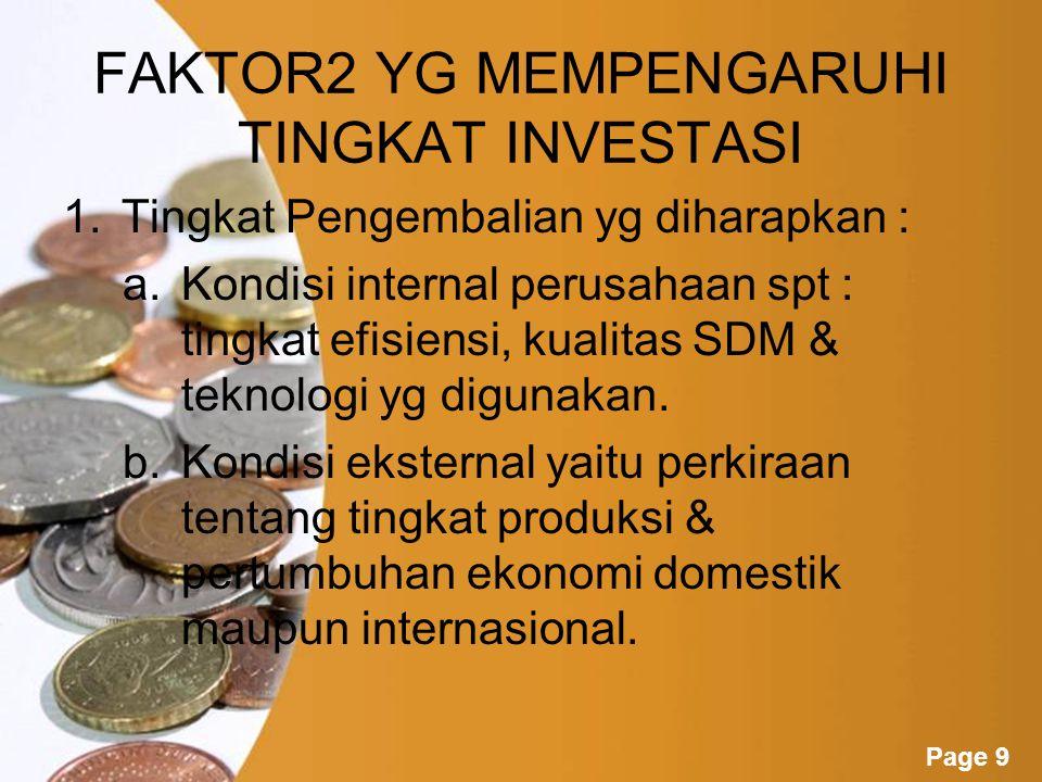 Page 10 2.Biaya Investasi Faktor2 yg mempengaruhi biaya investasi : Tingkat bunga pinjaman Keberadaan dan efisiensi lembaga keuangan Tingkat kepastian hukum Stabilitas politik Keadaan keamanan