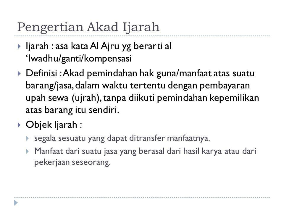 Pengertian Akad Ijarah  Ijarah : asa kata Al Ajru yg berarti al 'Iwadhu/ganti/kompensasi  Definisi : Akad pemindahan hak guna/manfaat atas suatu bar