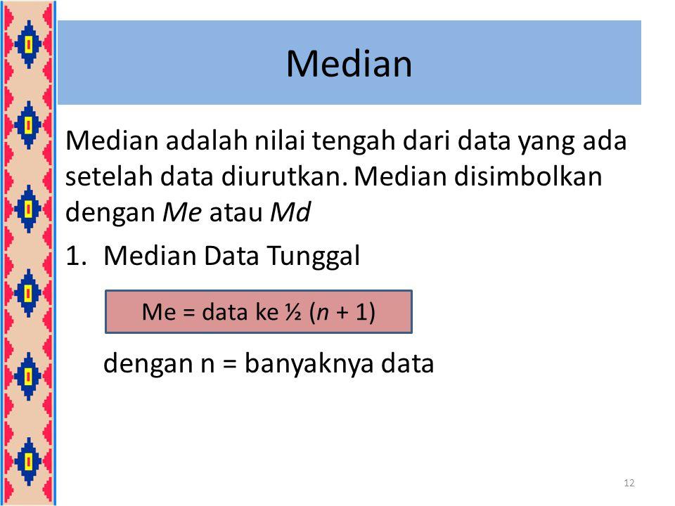 Median Median adalah nilai tengah dari data yang ada setelah data diurutkan. Median disimbolkan dengan Me atau Md 1.Median Data Tunggal dengan n = ban