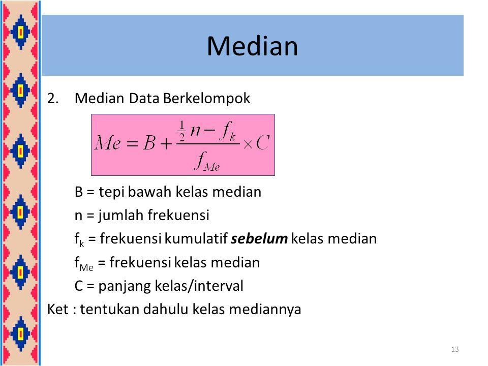 Median 2.Median Data Berkelompok B = tepi bawah kelas median n = jumlah frekuensi f k = frekuensi kumulatif sebelum kelas median f Me = frekuensi kela