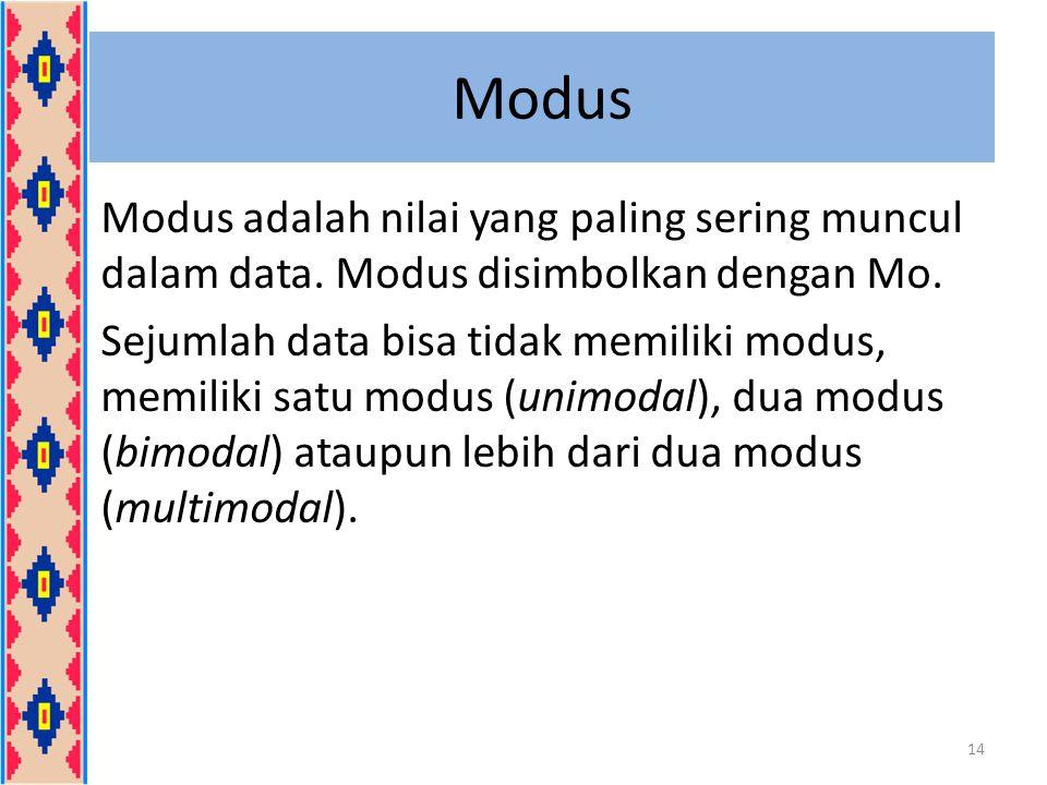 Modus Modus adalah nilai yang paling sering muncul dalam data. Modus disimbolkan dengan Mo. Sejumlah data bisa tidak memiliki modus, memiliki satu mod
