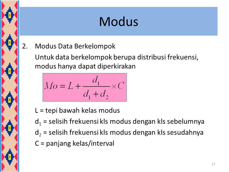Modus 2.Modus Data Berkelompok Untuk data berkelompok berupa distribusi frekuensi, modus hanya dapat diperkirakan L = tepi bawah kelas modus d 1 = sel