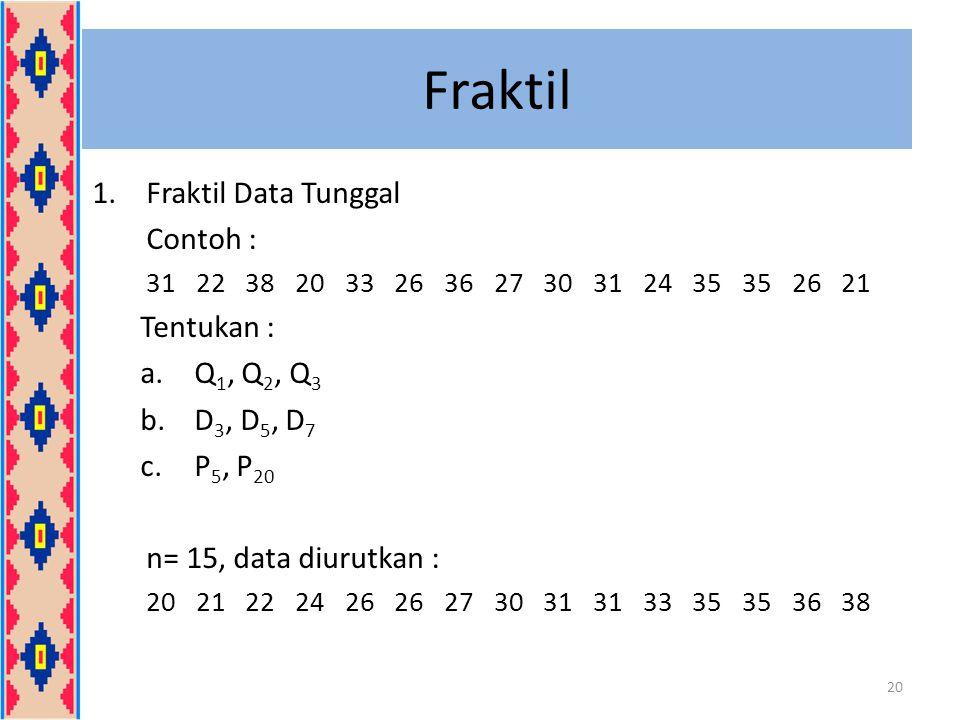 Fraktil 1.Fraktil Data Tunggal Contoh : 31 22 38 20 33 26 36 27 30 31 24 35 35 26 21 Tentukan : a.Q 1, Q 2, Q 3 b.D 3, D 5, D 7 c.P 5, P 20 n= 15, dat
