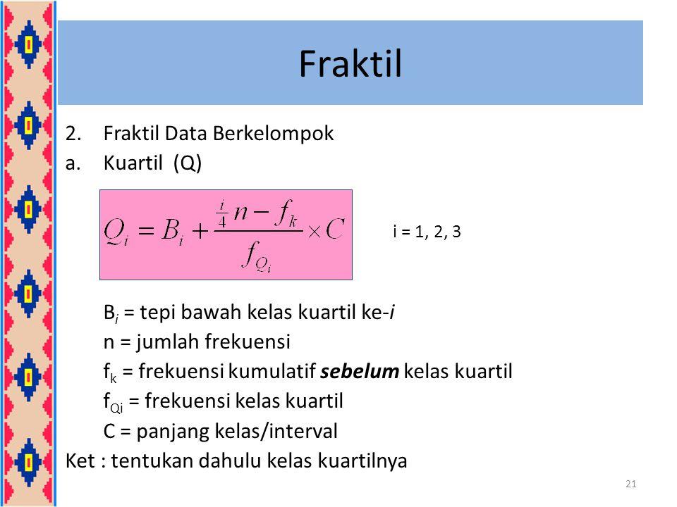 Fraktil 2.Fraktil Data Berkelompok a.Kuartil (Q) B i = tepi bawah kelas kuartil ke-i n = jumlah frekuensi f k = frekuensi kumulatif sebelum kelas kuar
