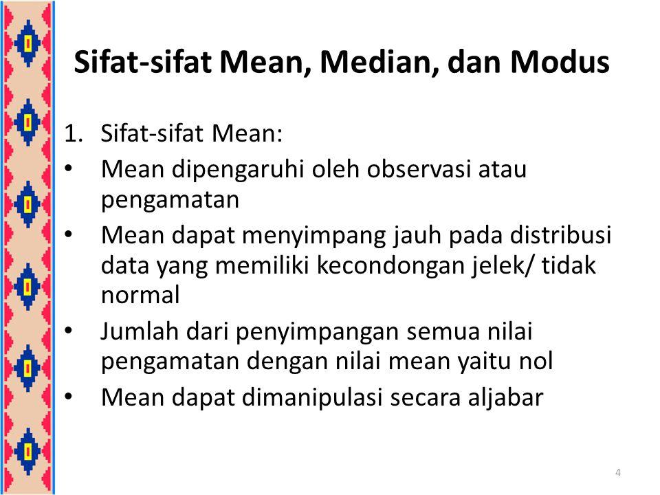 2.Sifat-sifat Median: Median dipengaruhi banyaknya observasi atau pengamatan Median sering digunakan pada distribusi dengan kecondongan yang jelek Jumlah penyimpangan (dengan tanda diabaikan) nilai-nilai dari medianlebih kecil daripada jumlah penyimpangan nilai-nilai dari titik yang lain 5 Sifat-sifat Mean, Median, dan Modus