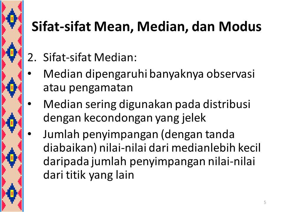 2.Sifat-sifat Median: Median dipengaruhi banyaknya observasi atau pengamatan Median sering digunakan pada distribusi dengan kecondongan yang jelek Jum