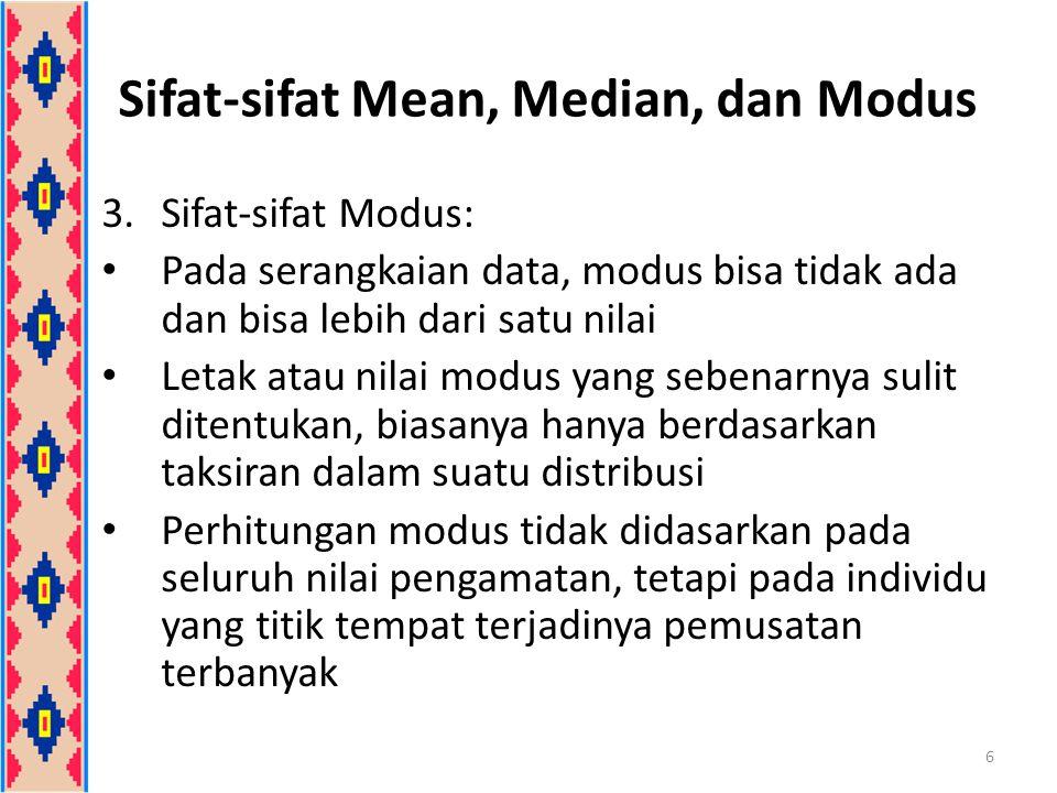 Modus 2.Modus Data Berkelompok Untuk data berkelompok berupa distribusi frekuensi, modus hanya dapat diperkirakan L = tepi bawah kelas modus d 1 = selisih frekuensi kls modus dengan kls sebelumnya d 2 = selisih frekuensi kls modus dengan kls sesudahnya C = panjang kelas/interval 17