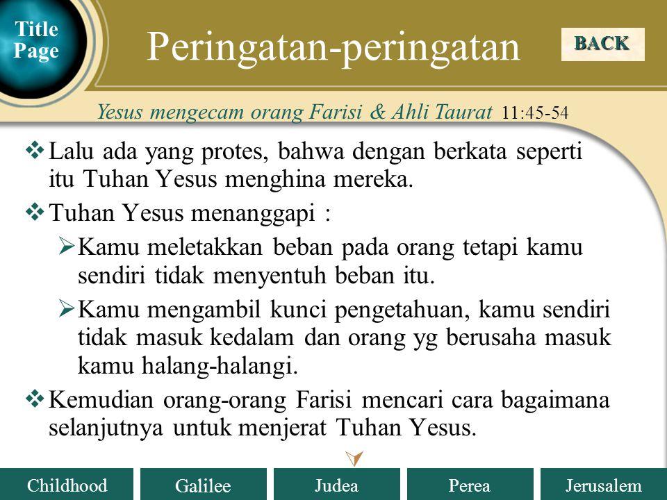 Judea Galilee ChildhoodPereaJerusalem  Tuhan Yesus memperingatkan : Setiap orang yang mengakui Aku di depan manusia, Anak Manusia juga akan mengakui dia di depan malaikat-malaikat Allah.