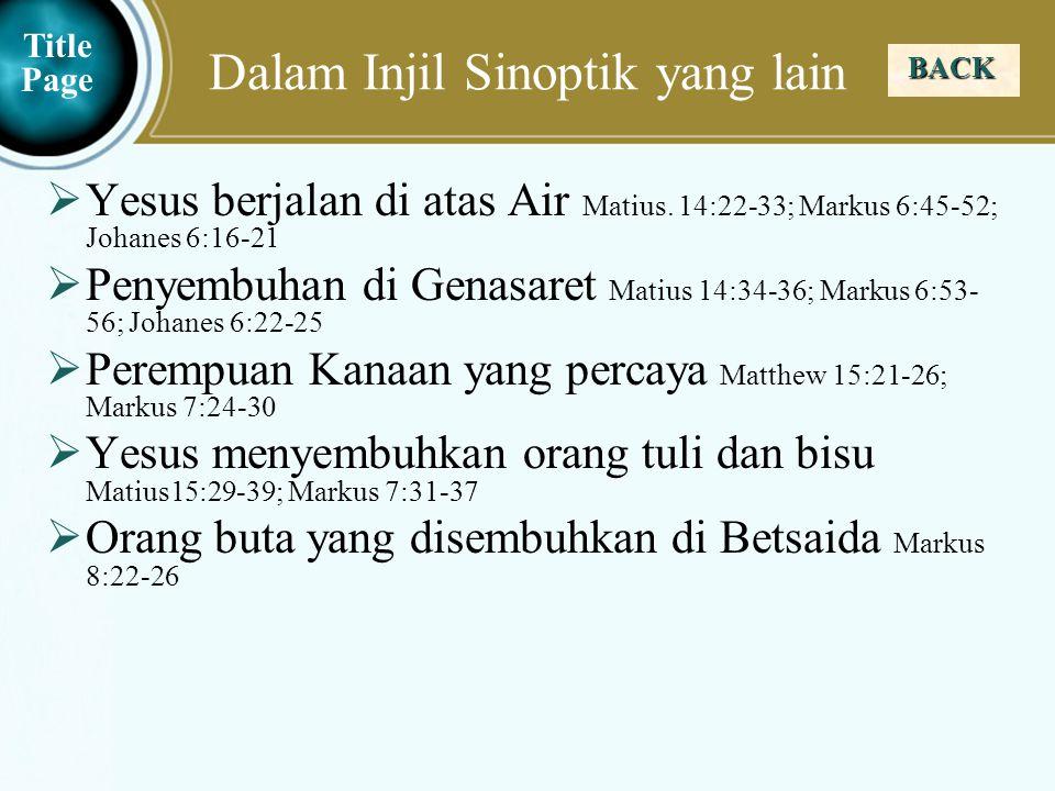 Judea Galilee ChildhoodPereaJerusalem Dalam Injil Yohanes BACK  Yesus menghadiri hari Raya Pondok Daun di Yerusalem:  Yesus mengunjugi Yerusalem Yohanes 7:1-13  Yesus mengajar di Bait Allah Yohanes 7:14-52  Yesus dan Perempuan yang Berzinah Yohanes 7:53–8:11  Yesus berkata Akulah terang dunia Yohanes 8:12-20  Yesus menyembuhkan seorang yang buta dari lahir Yohanes 9:1-41  Yesus berkata Akulah Gembala yang baik Yohanes 10:1-18  Yesus menghadiri hari Raya Pentabisan Bait Allah di Yerusalem John 10:22-39  Yesus membangkitkan lazarus dari kematian Yohanes 11:1-44  Yesus berangkat ke kota Efraim Yohanes 11:54-57 Title Page