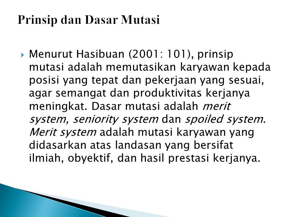  Menurut Hasibuan (2001: 101), prinsip mutasi adalah memutasikan karyawan kepada posisi yang tepat dan pekerjaan yang sesuai, agar semangat dan produktivitas kerjanya meningkat.